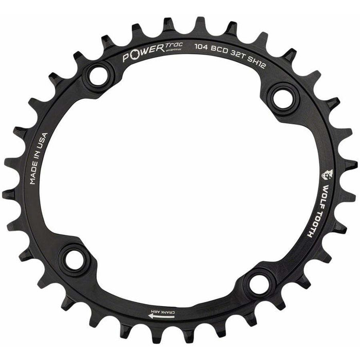 Wolf Tooth Elliptical 104 BCD Chainring, 4-Bolt, Requires Shimano 12-Speed Hyperglide+ Chain, Black
