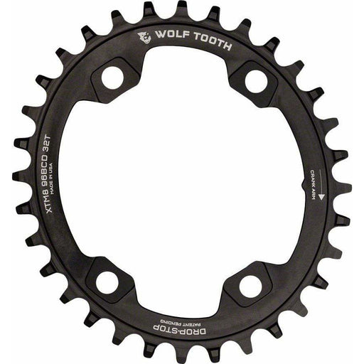 Wolf Tooth Elliptical 96 BCD Chainring, 4-Bolt, Drop-Stop, For Shimano XTR M9000 and M9020 Cranks, Black