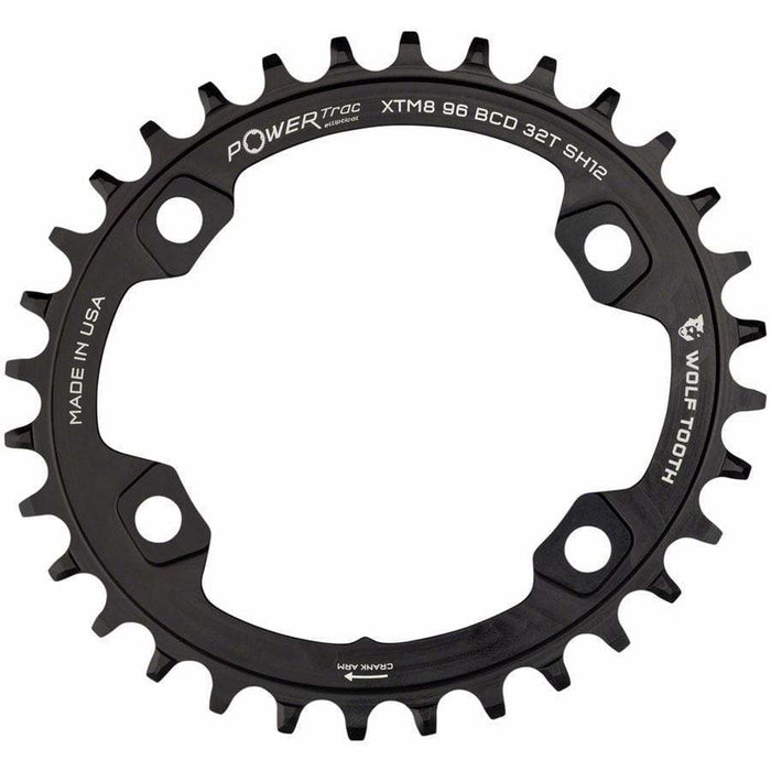 Wolf Tooth Elliptical 96 BCD Chainring, 96 Asymmetric BCD, 4-Bolt, For Shimano Cranks, Use 12-Spd Hyperglide+ Chain, Black