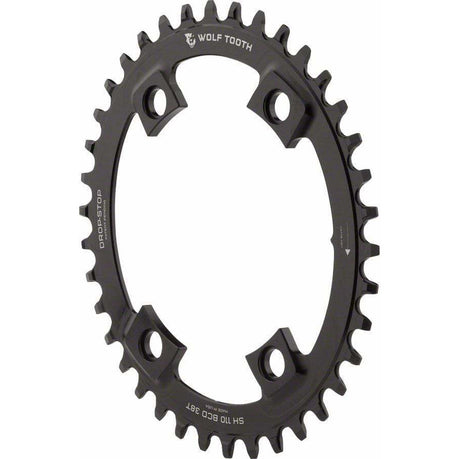 Wolf Tooth  Elliptical Shimano 110 Asymmetric BCD Chainring, 4-Bolt, Drop-Stop, For Shimano Cranks, Black
