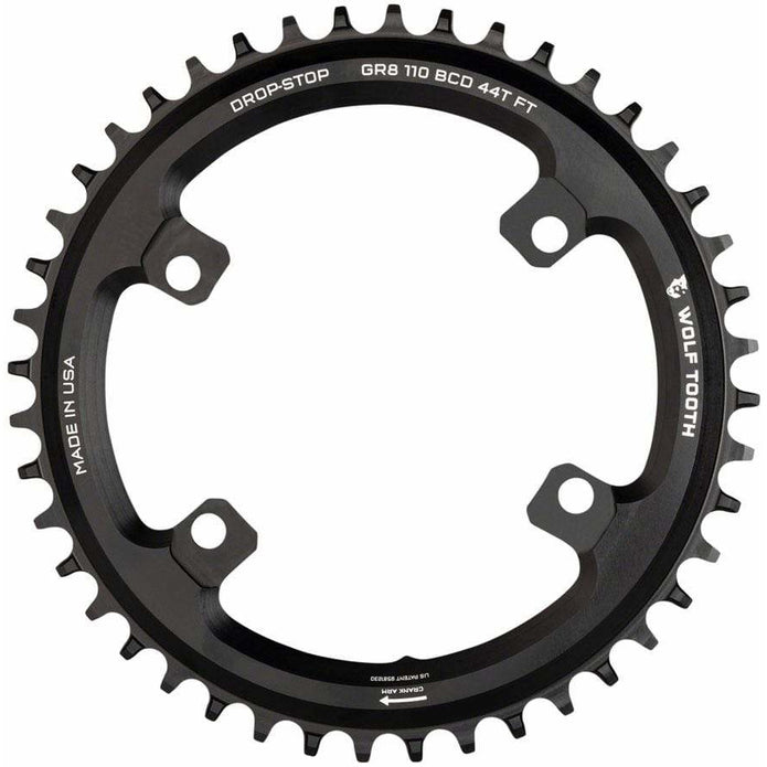 Shimano 110 Asymmetric BCD Chainring, 4-Bolt, Drop-Stop Flattop, For Shimano GRX Cranks