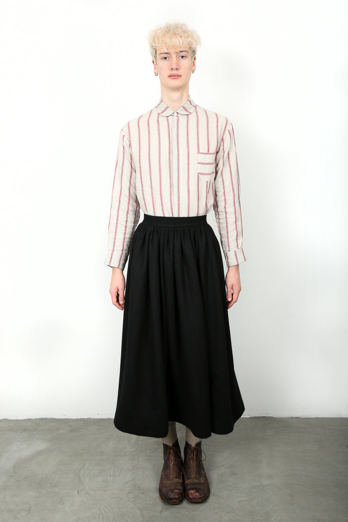 striped linen shirt, round collar