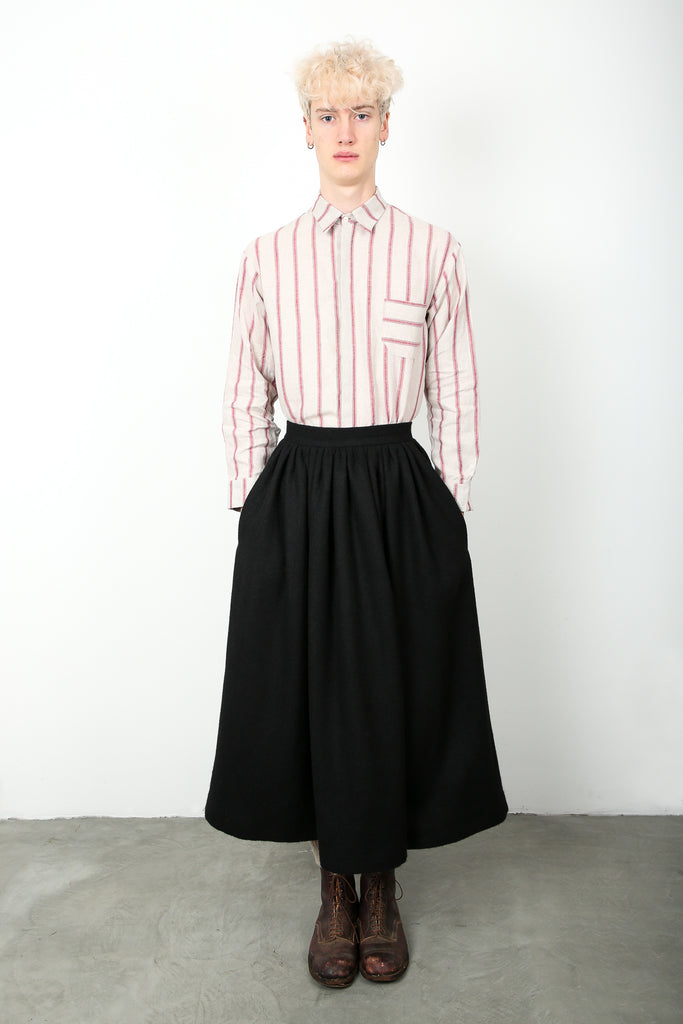 striped linen shirt, regular collar