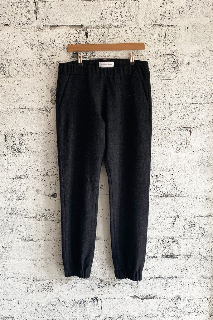 Black Herringbone Tweed trackpants