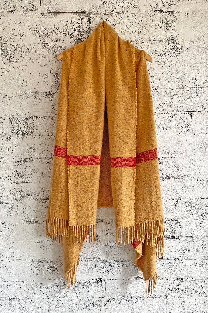Biscuit and red stripe Blanket Coat