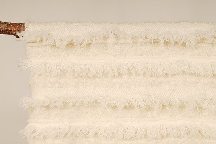 Cream & silver Tassled Blanket shawl