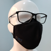 Mannequin head wearing glasses with black Smart Pro Mask demonstrating the fog guard.