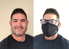 Man side-by-side comparison with and without Smart Pro Mask. In image with Mask, wearing glasses and using the fog guard.