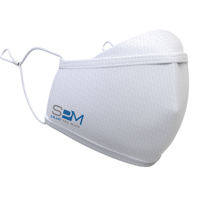 White Smart Pro Mask with Grey and Blue logo on right side.