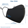 Size guide for the Child Smart Pro Mask: 3.75 in width radius, 7.5 in width diameter, 4 in height plus 1.25 in height lens guard. Ear Straps adjust up to 3 in and stretch up to 8 in. Measurements are approximate