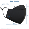 Size guide for regular Smart Pro Mask: 4.5 in width radius, 9 in width diameter, 5 in height plus 1.25 in height lens guard. Ear Straps adjust up to 3 in and stretch up to 8 in. Measurements are approximate