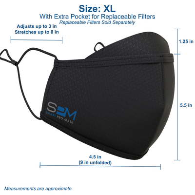 Size guide for the Extra Large Smart Pro Mask: 4.55 in width radius, 9 in width diameter, 5.5 in height plus 1.25 in height lens fog guard. Ear Straps adjust up to 3 in and stretch up to 8 in. Measurements are approximate. Extra Large size comes with an extra pocket for replaceable filters. Replaceable filters sold separately.
