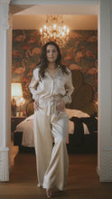 Load image Luxurious 100% Silk Trousers; Champagne