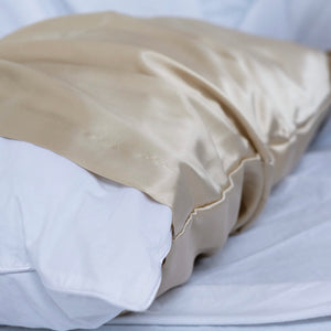 SILK PILLOWCASE 50X70cm or 60x80cm, CHAMPAGNE TOAST 22 momme; limited edition minimalistic logo