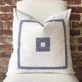 Greek Key Pillow - Bone / Navy