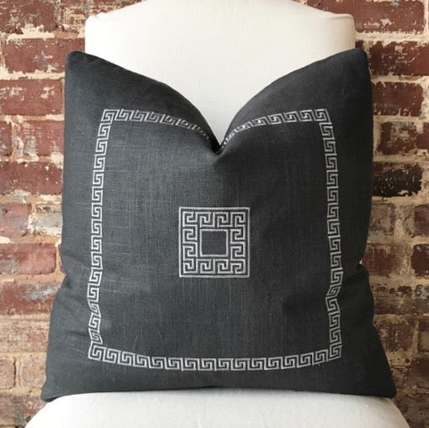 Greek Key Pillow - Charcoal