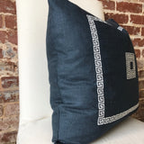 Greek Key Pillow - Indigo / White
