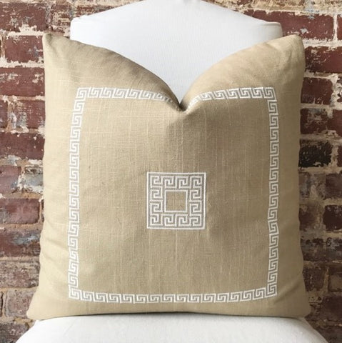 Greek Key Pillow - Jute