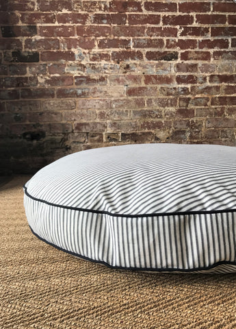 Black Ticking Stripe Dog Bed