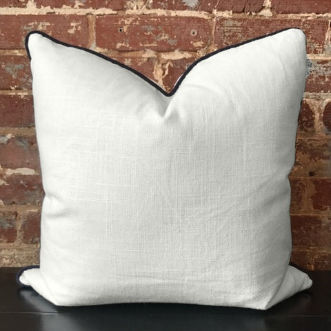Bone with Navy Linen Pillow
