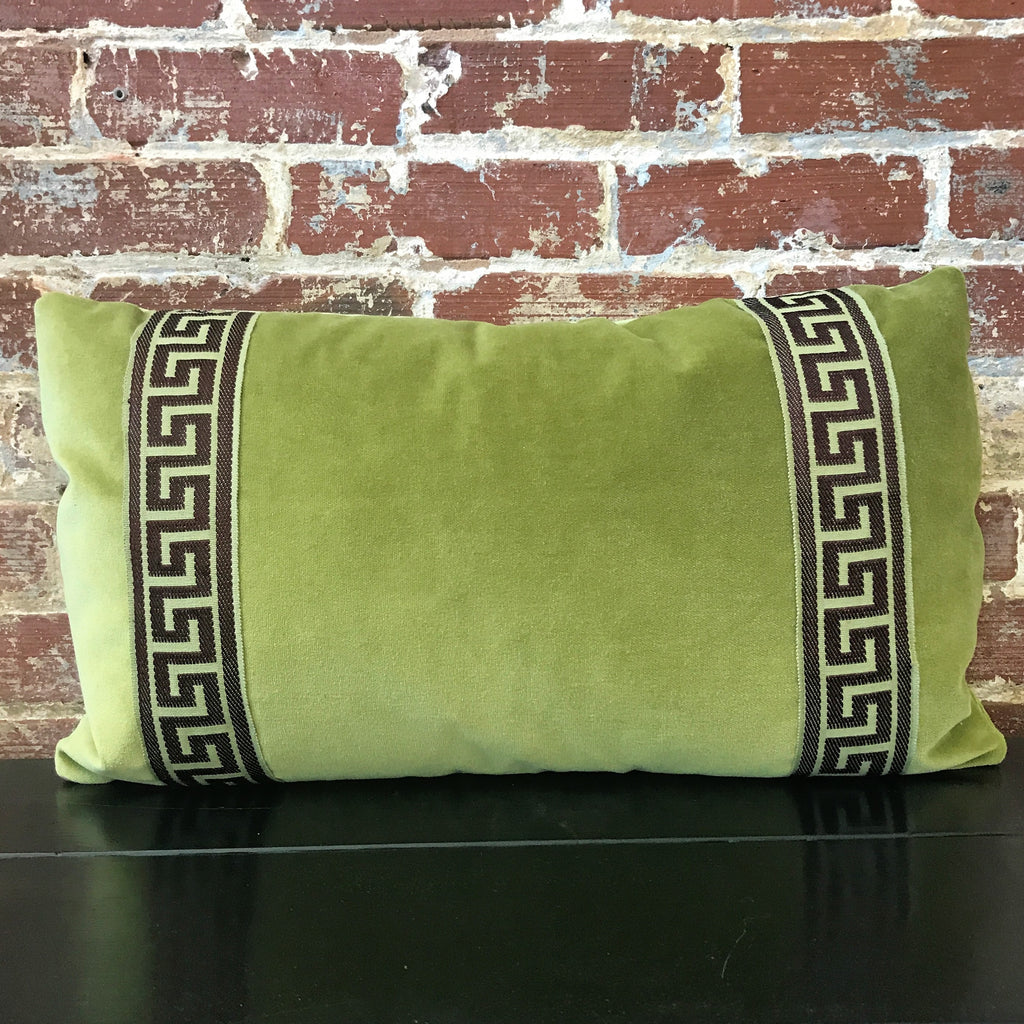 Green Velvet Lumbar with Tape Trim Pillow