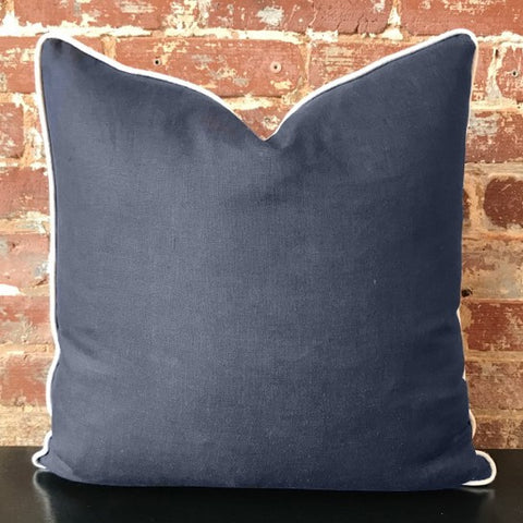 Navy Linen Pillow