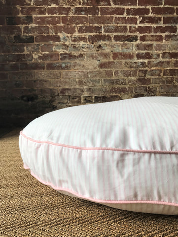 Blush Ticking Stripe Dog Bed
