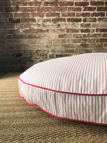 Red Ticking Stripe Dog Bed