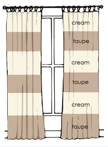 "83.5""L x 46""W Pair in ""CREAM"" and ""TAUPE"" (striped panels) - READY TO SHIP"