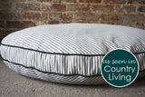 Blue Grey Ticking Stripe Dog Bed
