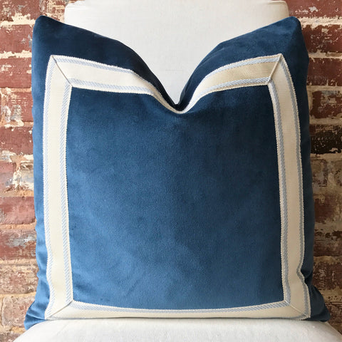Blue Velvet with Tape Trim Pillow
