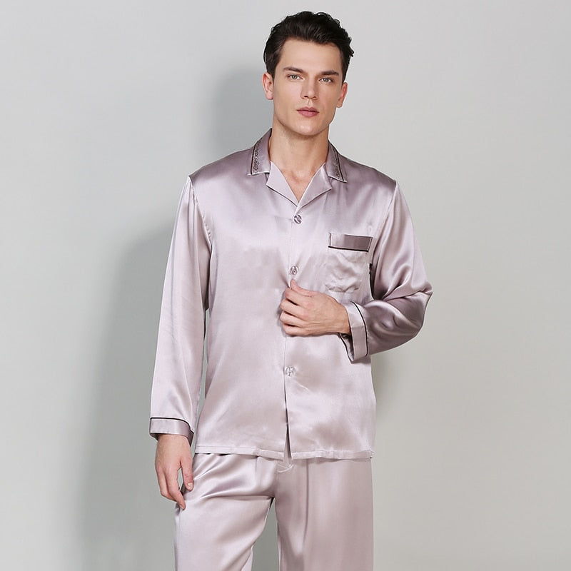2020 Autumn solid chinese style Long-Sleeve Male Pajama