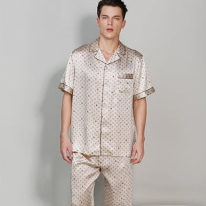 Men Sexy Printed Short Sleeve Pyjama Pants Sets Two-piece