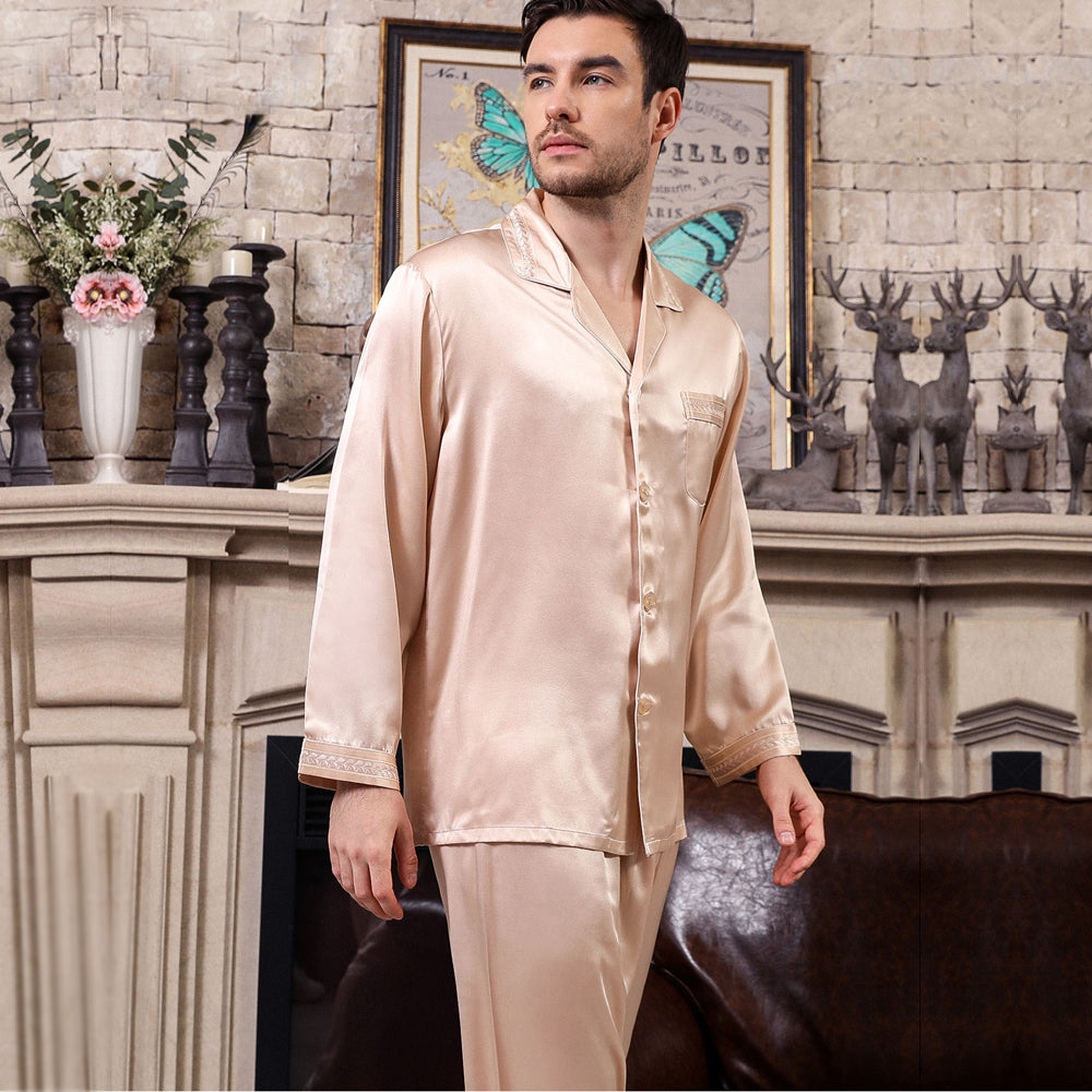 Fashion long sleeve solid color pure silk pijamas