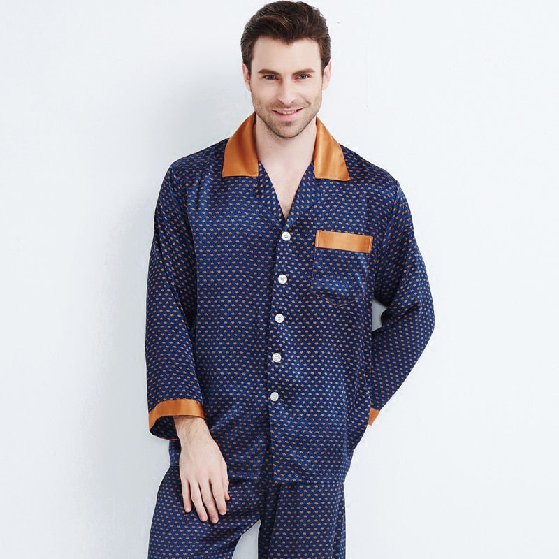 Silk Pajamas Men's Long sleeve Pyjamas Male Luxury