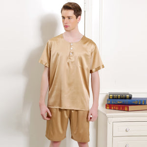Silk Sleepwear Men's Pajamas Male Short-Sleeve Shorts Sets