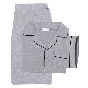 Long Sleeve Tops With Elastic Waist Long Pants Pajama Sets