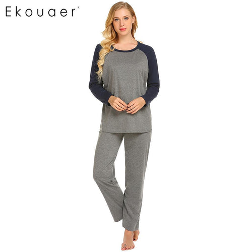 Round Neck Long Sleeve Elastic Pants Pajama Sets