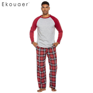 Long Plaid Pants Pajama Winter Loungewear Home Suit