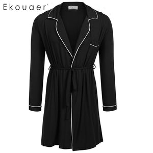 Sleepwear Long Kimono Robe with Belt Male Nightgown