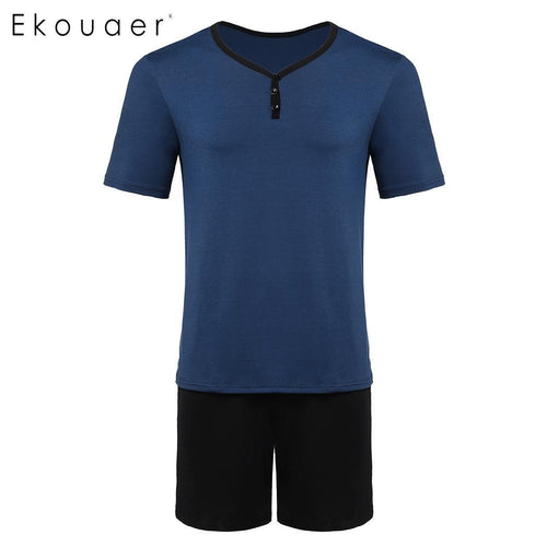 V-Neck Short Sleeve Contrast Color T-Shirt Pajamas Suit