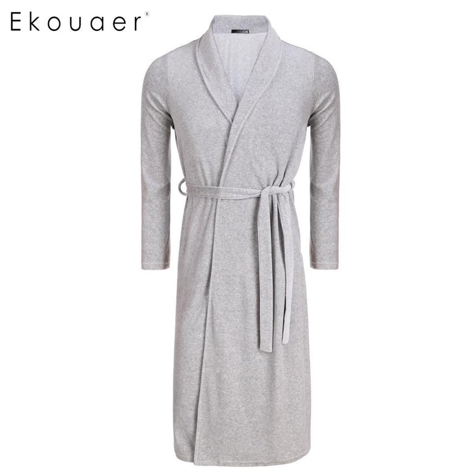 Fashion Solid Long Sleeve Waistband Dressing Gown Robes
