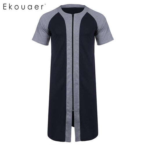 O Neck Short Sleeve Knee Length Zipper Bathrobe Nightwear