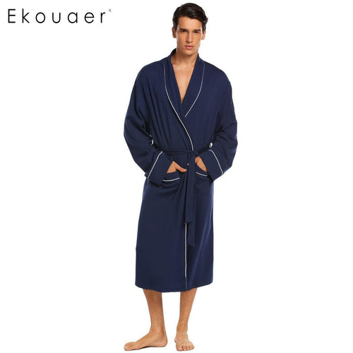 Long Sleeve Lounge Sleepwear Dressing Gown Male Robes M-3XL Sizes