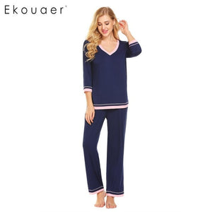 3/4 Sleeve Patchwork Loose T-Shirt and Long Pants Sleepwear Sets