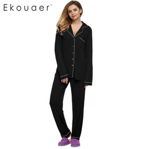 Women's Long Sleeve Sleepwear Soft Pyjamas Set