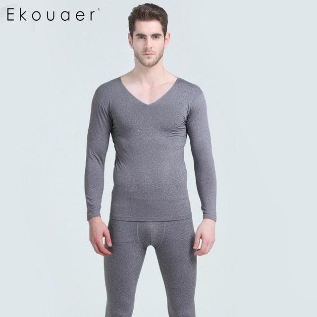Long Sleeve O-Neck Winter Thermo Underwear Male Long Johns