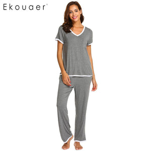 V-Neck Tops Long Pants Soft Loose Pajamas Set