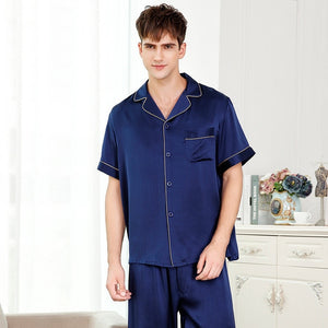 Short sleeves sexy silk pajamas for male