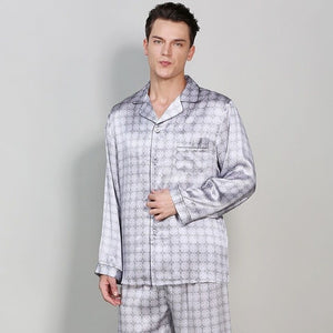 All Season 100% Mulberry Silk Pijama Masculino Pyjama Suit